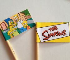 20 CUPCAKE FLAGS/TOPPERS - THE SIMPSONS CHILDRENS BIRTHDAY PARTY