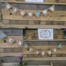 Burlap Garland Cards Sign Me Banner Rustic Wedding Suitcase Hessian Banner