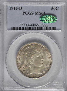 1915-D Barber Half PCGS MS64 CAC Lustrous Patina & Fields  CAC Pop 34/45