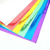 10 x A4 Shiny Mettalic Mirror Paper Peel & Stick Sticky Backed Sheets Cardmaking
