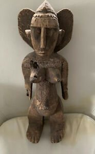 vintage African ART Wood Carved Statue Approx 16 X 5