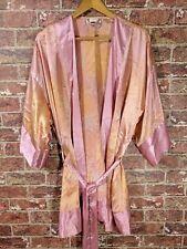 VTG Victorias Secret One Size OS Sleep Robe Satin Floral Peach Pink Kimono