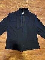 Anne Klein Career Jacket Black long Sleeve Open Blazer women's size large