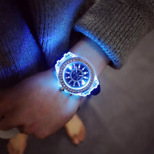 Cool Women Men Glowing LED Night Light Silicone Crystal Couple Wrist Watch Gift