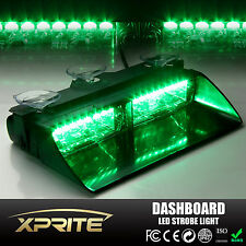 GREEN 16 LED Strobe Light 18W Windshield Emergency Flash For Dash Interior