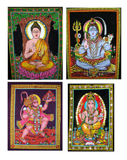 10pc Indian God Goddess Sequin Tapestry Batik Cotton Wall Hangings Wholesale Lot
