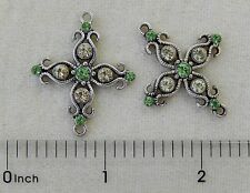2 Antiqued Silver Jonquil Yellow Peridot Green Cross Bead Drop Connector Links