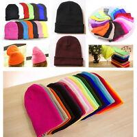 Unisex Beanie Knit Ski Cap Unisex Hip-Hop Blank Color Winter Warm Wool Hat