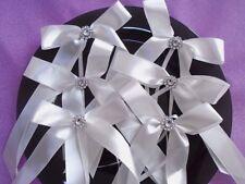 10 Noeuds ruban satin blanc  strass décoration voiture, banc d'église mariage .