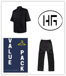 Chef Jacket & Pants Value Pack Classic Uniform Black/White/Apple Green HG