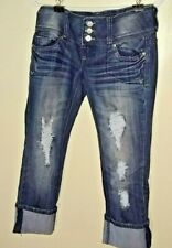 Almost Famous Dark Blue Distressed/Destroyed Button Fly Capri Jeans Size 3