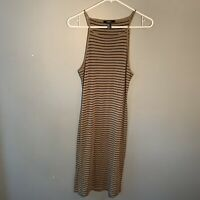 Forever 21 Women's Size Medium Sleeveless Midi Dress Olive Green Black Stripes