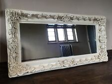 ANTIQUE WHITE 6FT X 4FT LARGE FRENCH LEANER DRESS SHABBY CHIC WOOD WALL MIRROR