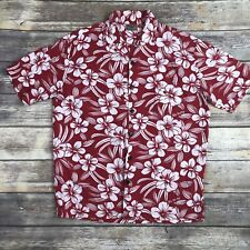 Hilo Hattie Small Red White Floral Aloha Hut Hawaiian Button Down Shirt