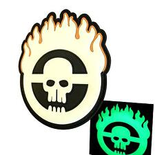 mad max fury road skull flames PVC rubber glow dark parche touch fastener patch