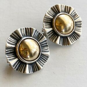 James Avery 14kt Earrings 925 Sterling Mixed Metal Ribbon Round French Clip 1995