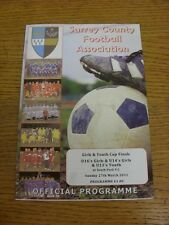 27/03/2011 Football Programme: Surrey County Youth And Girls Cup Finals - U13 Yo