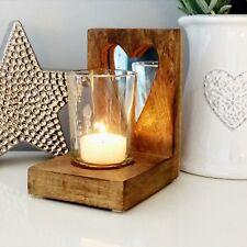 RUSTIC MANGO WOOD STANDING HEART MIRROR GLASS TEA LIGHT CANDLE VOTIVE HOLDER