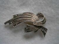 Alte sehr attraktive Brosche aus 835 Silber mit Markasiten - Art Deco