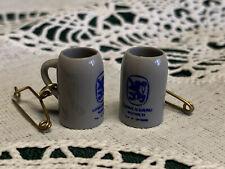 "2 Nos Vintage Miniature Lowenbrau Beer Stein Mugs Charms Pinback 3/4"" Dollhouse"