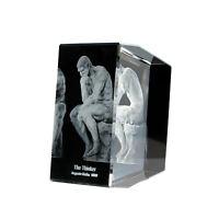 Art & Artifact The Thinker Sculpture - 3D Laser Engraved Crystal Glass Desk Acc.