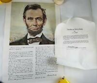 Vintage Lincoln National Life Commemorative Copy Gettysburg Address w/Portrait