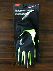 New Nike Men's DRI-FIT Tailwind Running Gloves Black Yellow Volt Medium M
