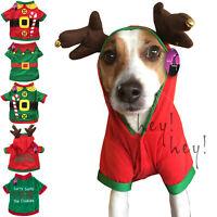 Dog Christmas Outfit Jumper Costume Fancy Dress Elf Santas Helper Coat Shirt Pet