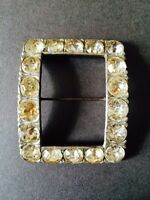 ART DECO BELT BUCKLE CLEAR PASTE RHINESTONE SQUARE CUT SILVER COLOUR BACK