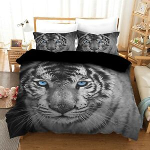 White Tiger Quilt/Duvet/Doona Cover Set Single Double Queen King Size