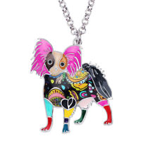 Enamel Alloy Standing Papillon Dog Necklace Pets Pendant Jewelry For Women Gifts