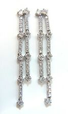 $8000 2.33ct natural round diamonds two rowed five tier dangle earrings 14kt gvs