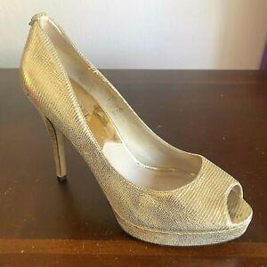 MICHAEL KORS Heels Erica Platform Pumps Gold Size 10 Medium Textured Leather
