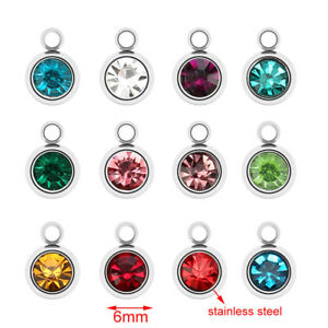 50pcs Stainless Steel Round Stone Charms Pendents for DIY Jewelry Making