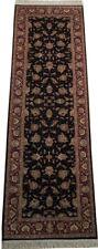 8 ft Traditional Black 249 x 79 cm Handmade Dense Opulent New Wool and silk