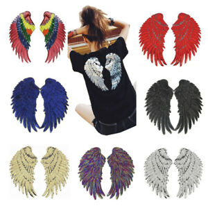 1 Pair Embroidery Sequin Patch Clothing Gold/Silver Angel Wings Iron On Patches