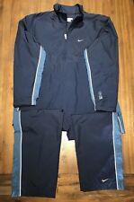 Vtg Nike Track Suit Jacket Pants nike72 Running Apparel Men's Sz L Navy Blue EUC