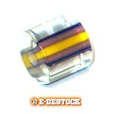 10 Perles tubes cylindre moyen verre pop jaune bleu et prune 9x10mm