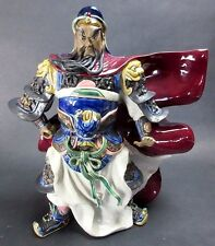 """Vintage Chinese Asian 14"""" Clay Handmade Guan Gong Yu Warrior God Statue Figural"""