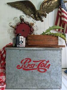 Pepsi-Cola Cooler vintage ice chest soda Pepsi bottle carrier old advertising