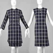 L 1960s Navy Blue Plaid Dress and Jacket Set Fall Spring Jacket Preppy 60s VTG