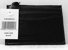 Nautica Mens Black Leather Credit Card Case Wallet  NWT Slim Design