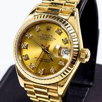 LADIES 18K GOLD ROLEX PRESIDENT W/ GOLD DIAMOND DIAL, NEW SOLID GOLD BRACELET