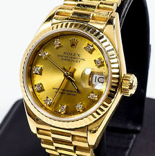 LADIES 18K ROLEX GOLD PRESIDENT W/ GOLD DIAMOND DIAL, BRAND NEW SOLID GOLD BAND