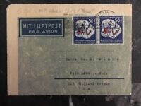 1952 Berlin East Germany DDR Airmail Letter Cover to Fair Lawn NJ USA #d202v
