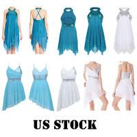 US Girls Lyrical Dance Dress Ballet Sequins Leotard Tutu Skirt Dancewear Costume