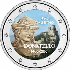 San Marino 2 Euro 2016 Donatello Gedenkmünze Stempelglanz in Farbe