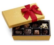 Godiva assorted Chocolate Gold Gift Box, Red Holiday Ribbon, 8 pc.