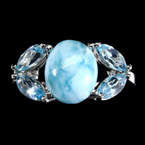 Unheated Oval Larimar 10x8mm Sky Blue Topaz 925 Sterling Silver Ring Size 8