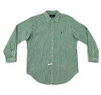 Polo Ralph Lauren Green Stripe Dress Shirt Men's Large 16 Long Sleeve Button Up